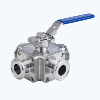 Sanitary T type 3 way multiport ball valves