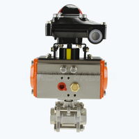Sanitary pneumatic 3PCS ball valves with limit switch